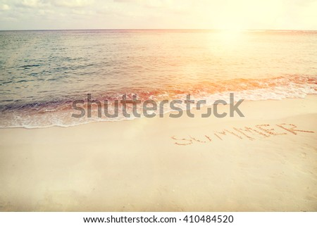Vintage tropical beach in summer - sunset time - stock photo