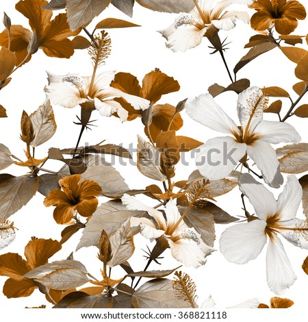 Vintage tropical flowers seamless pattern on a white. Brown realistic photo collage flowers hibiscus with vintage old effect. Artistic floral design for textile and wrapping. - stock photo