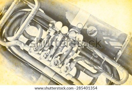 Vintage tuba - musical instrument in brass group orchestra, music concept for brass band on an old texture background. Musical background with tuba in retro style. - stock photo