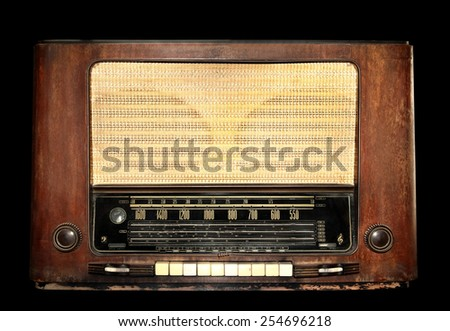 Vintage tube radio receiver pre world war model isolated on black with working path - stock photo