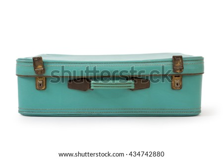 Vintage turquoise suitcase, isolated on white background, clipping path - stock photo