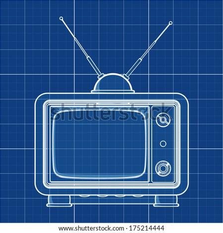vintage TV. Cad cartoon white drawing on blue background illustration outline. High resolution 3D  - stock photo