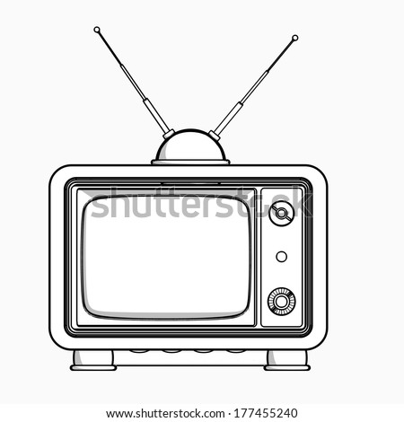 vintage TV. cartoon illustration outline. High resolution  - stock photo