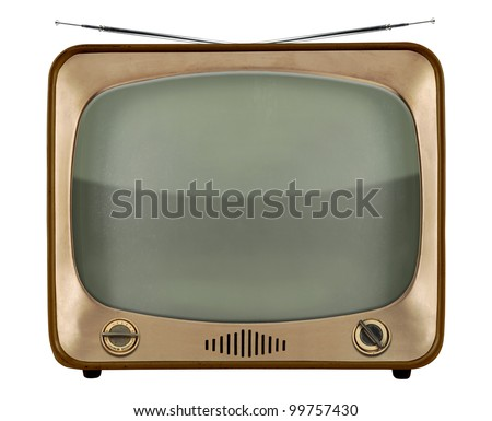Vintage TV from the 1950s isolated over white background - With Clipping Path