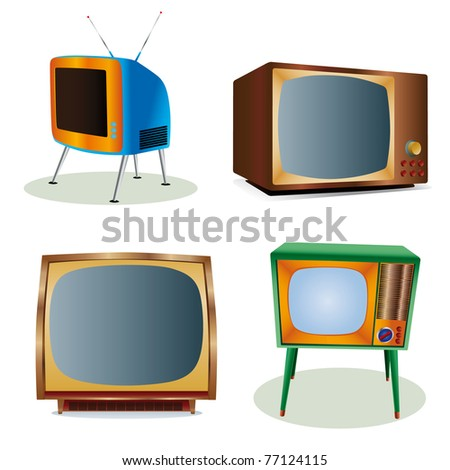 vintage tv icons set - stock photo