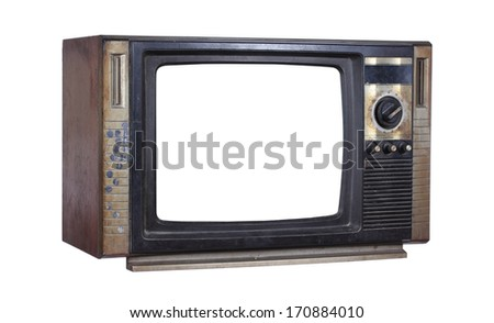 Vintage tv, isolate on white background - stock photo