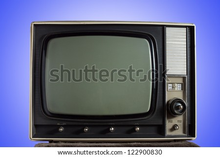 vintage tv on blue background