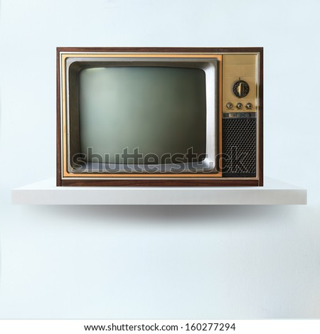 Vintage tv on shelf