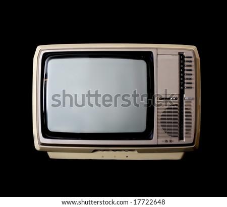 Vintage tv set isolated on black - stock photo