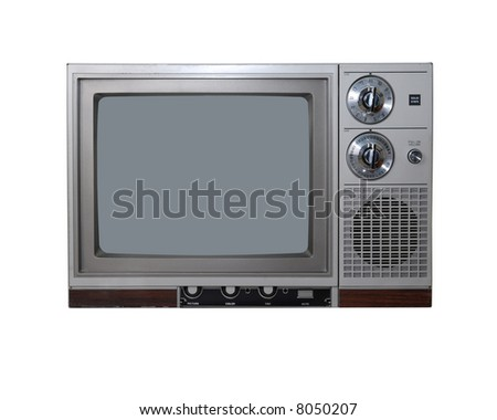 Vintage TV set. Isolated on white.