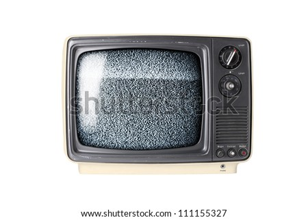 Vintage TV set isolated on white background with static