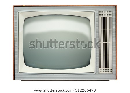 Vintage TV set isolated over white background