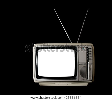 Vintage TV set with blank white screen on black background