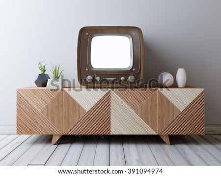 Vintage TV with mockup screen on the media unit. Loft interior with vintage TV and media console. - stock photo