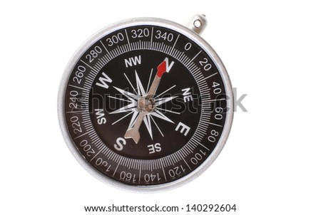 Vintage type silver compass with needle pointing North isolated on white background - stock photo