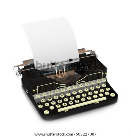 Vintage typewriter 3D illustration (3D rendering)