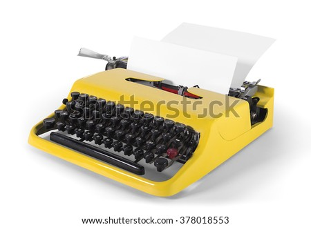 Vintage typewriter in side view - with clipping path