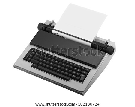 Vintage typewriter isolated, clipping path - stock photo