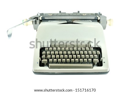 Vintage typewriter isolated on white - stock photo