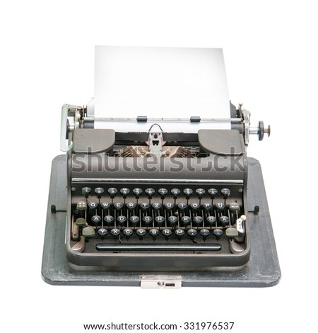 Vintage typewriter isolated on white