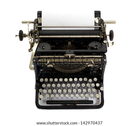 vintage typewriter isolated on white background