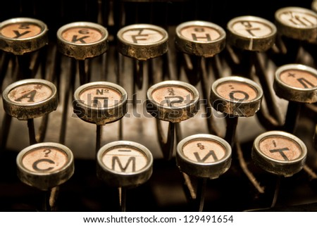Vintage typewriter keyboard - stock photo