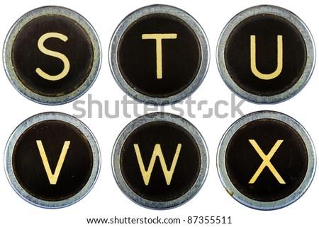 Vintage typewriter letters STUVWX isolated on white - stock photo