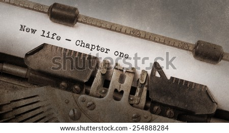 Vintage typewriter, old rusty and used, new life chapter 1 - stock photo