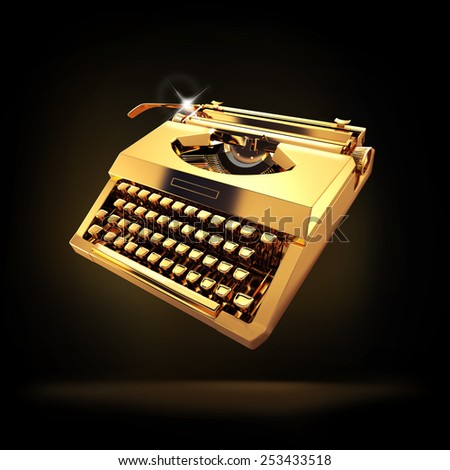 Vintage typewriter on black background - stock photo