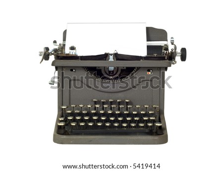 Vintage Typewriter on white background with space for copy on the paper,