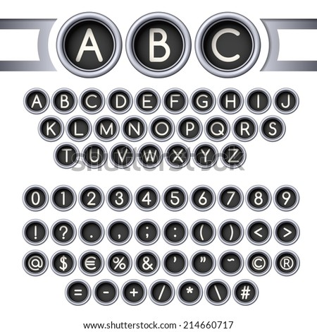 Vintage typewriter round buttons alphabet, silver colors.