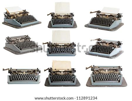 vintage typewriter set isolated on white background - stock photo