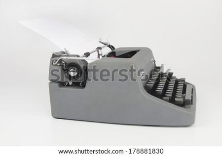 Vintage Typewriter Side Angle - stock photo