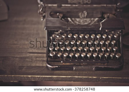Vintage typewriter , touch-up in retro style
