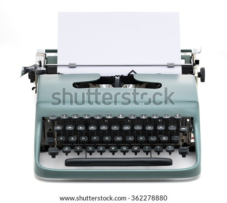 vintage typewriter with blank paper to write text, isolated - stock photo