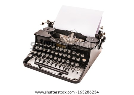 Vintage typewriter with paper sheet isolated on white - stock photo