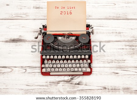 Vintage typewriter with sample text To Do List 2016 - stock photo
