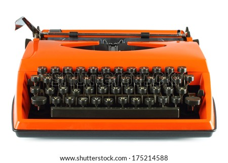 Vintage typing machine on white background  - stock photo