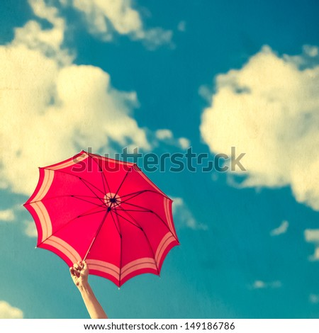 vintage umbrella in the blue sky
