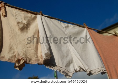 vintage underwear hanging out to dry