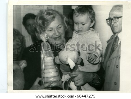 Vintage unretouched photo of first birthday - stock photo