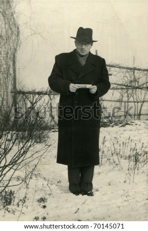 Vintage unretouched photo of man (fifties) - stock photo