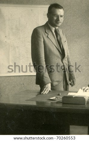 Vintage unretouched photo of man (forties/fifties) - stock photo