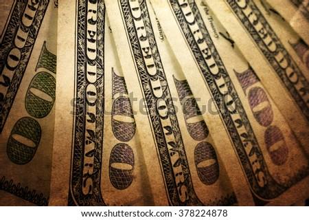 Vintage US dollar background - stock photo