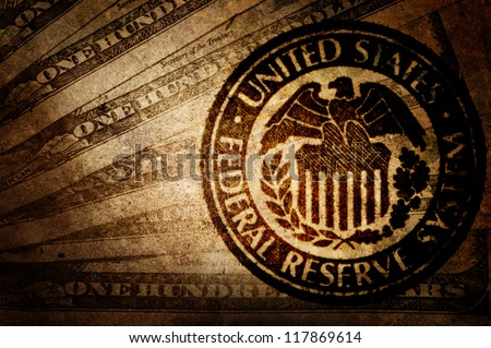 Vintage US dollar. Federal reserve system. - stock photo