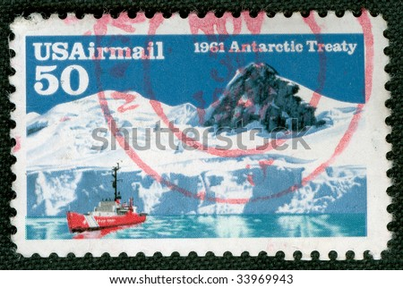 Vintage US stamp about Antarctic Treaty in 1961 - stock photo