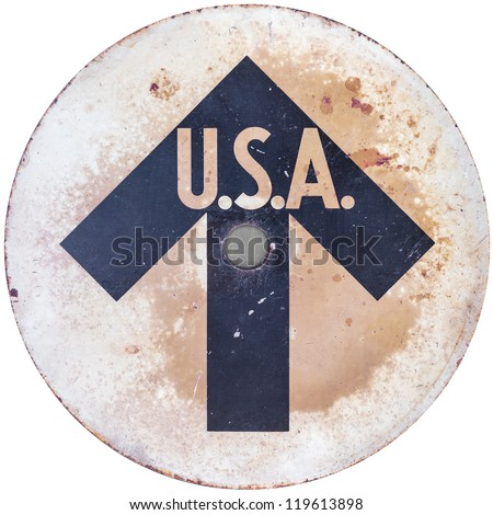 Vintage USA direction sign isolated on a white background - stock photo
