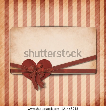 Vintage valentine background  with hearts and area for text - stock photo
