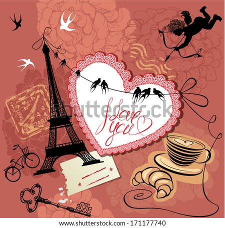 Vintage Valentine's Day Postcard with Paris theme - Effel tower, heart, angel and calligraphy text I love you. Raster version - stock photo