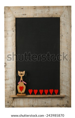 Vintage valentines love cat with red hearts chalkboard blackboard in reclaimed old wooden frame isolated on white with copy space